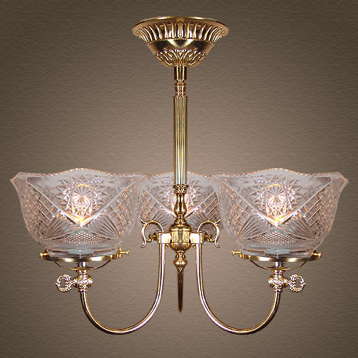Model NSH11 A Variation on 'The Rockwell' Victorian Short Gaslight Victorian Chandelier